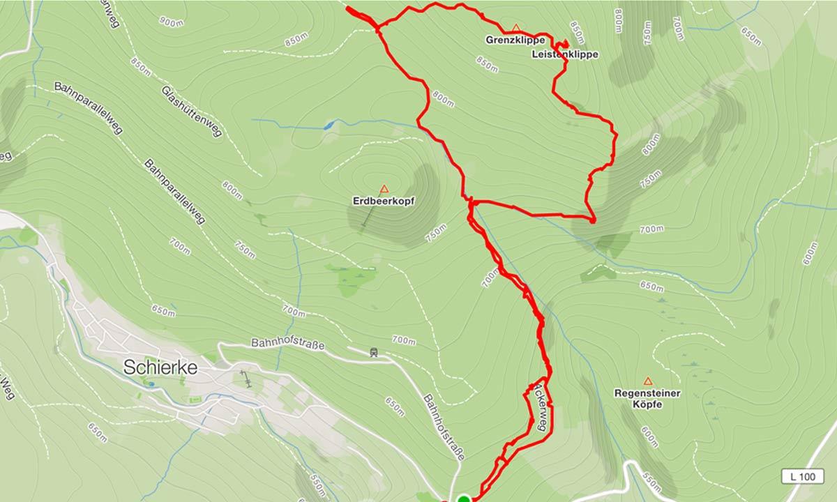 Strava Karte von unserer Harz Wanderung