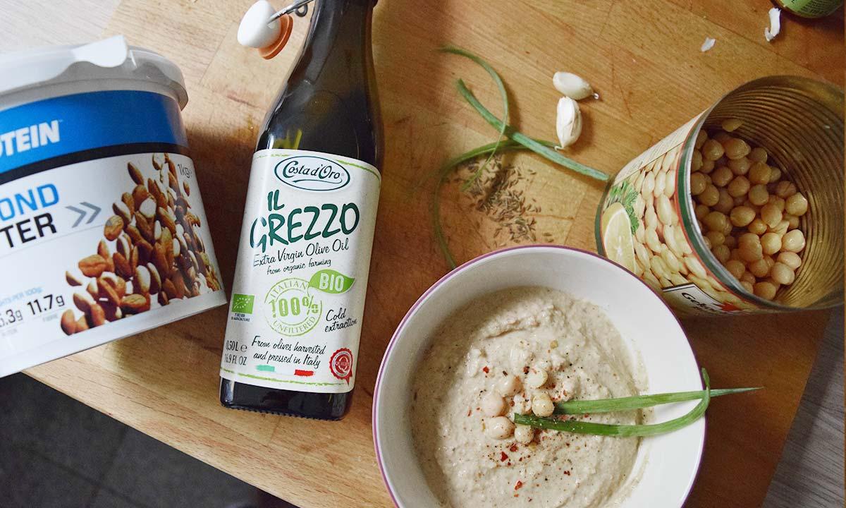 alle Zutaten für das vegane Hummus Rezept – Fitness Blog Coco Collmann